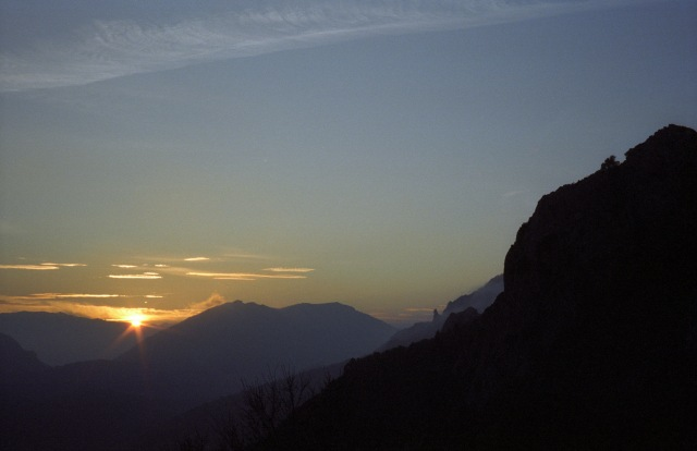 205  sunset from Peyrepeteuse 1996