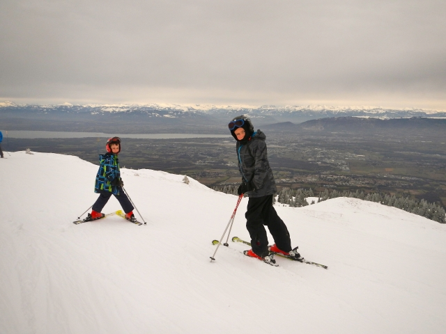 Boys in the Juras at the end of January 2014. Geneva is in the distance and beyond are the Alps.