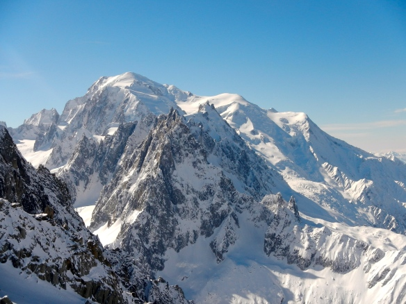 Mont Blanc and Aiguille du Midi (centre)