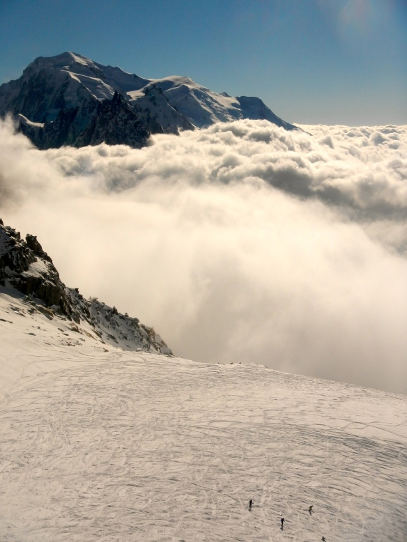 Afternoon view from Les Grands Montets towards Mont Blanc