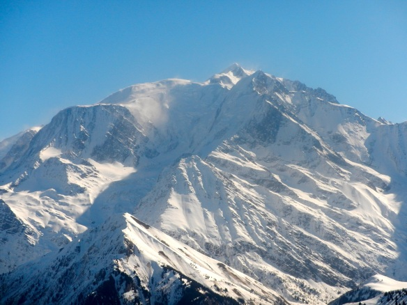 Mont Blanc seen from the west (Mégeve) in Marcg 2014