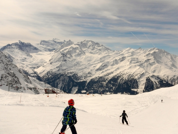 Two boys on the piste at around 2500 m.