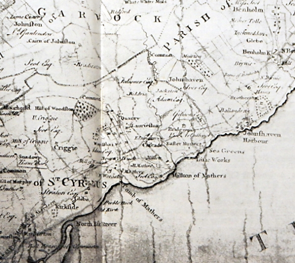 Survey map made in 1774 showing the villages of Milton of Mathers, West Mathers and Easter Mathers as well as the Comb of Mathers.