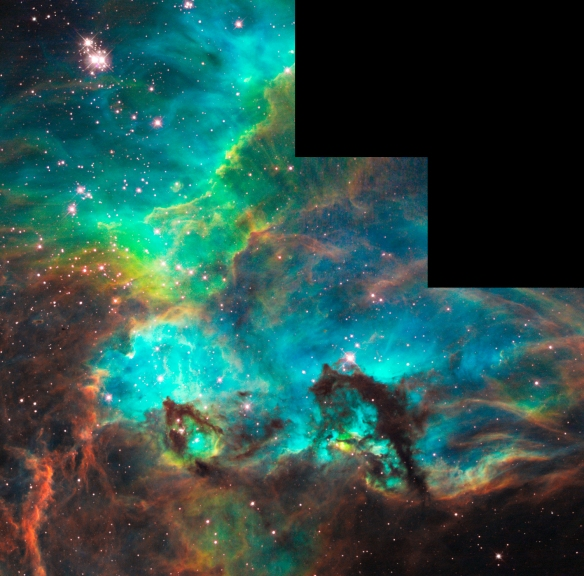 Star Cluster NGC 2074 in the Large Magellanic Cloud is a firestorm of raw stellar creation, perhaps triggered by a nearby supernova explosion. The high-energy radiation blazing out from clusters of hot young stars already born in NGC 2074 is sculpting the wall of the nebula by slowly eroding it away.