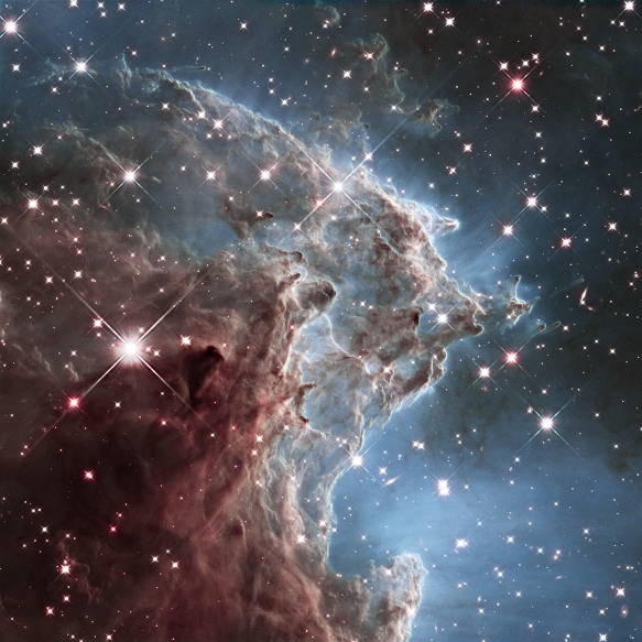 Star factory in the Monkey Head Nebula. A cloud of gas and dust is sculped by ultraviolet light from young stars at the centre of the nebula.
