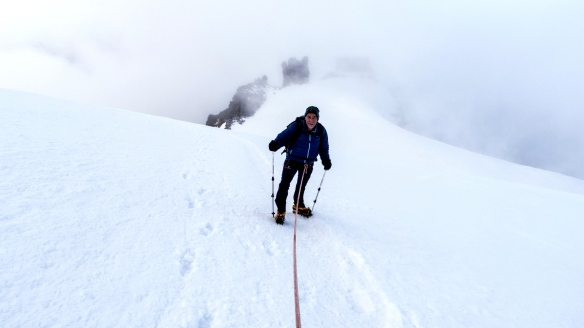 Approaching the summit ridge