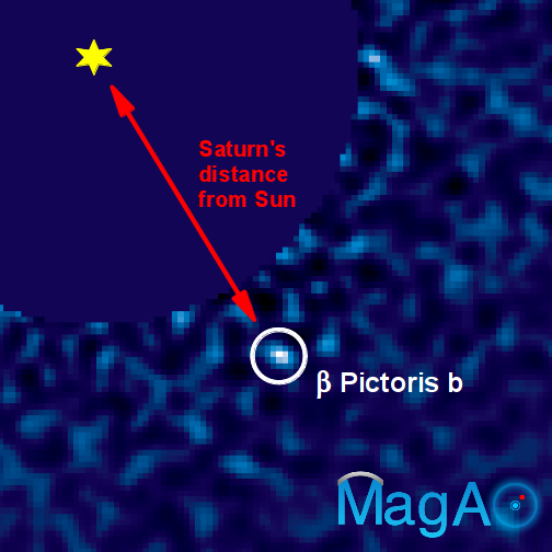 An image of the exoplanet Beta Pictoris b taken with the Magellan Adaptive Optics VisAO camera. This image was made using a CCD camera, which is essentially the same technology as a digital camera. The planet is nearly 100,000 times fainter than its star, and orbits its star at roughly the same distance as Saturn from our Sun. (Credit: Jared Males/UA)