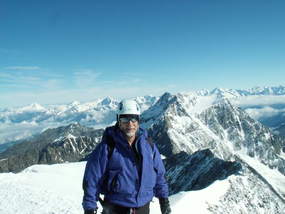 On the summit of Weissmeis, my first 4000 m peak in the Swiss Alps.
