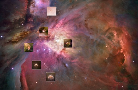 Looking deep inside the Orion Nebula, the Hubble Space Telescope has captured a stunning collection of protoplanetary disks – or proplyds – which are embryonic solar systems in the making.
