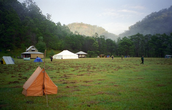 My yellow tent at Gorricks Run, 1996.