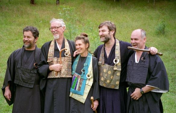 Five Zen teachers at Gorricks Run, 1996. From the left: Ross Bolleter, Robert Aitken Roshi, Subhana Bargazhi, John Tarrant and Daniel Tarragno.