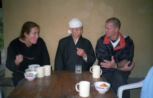 Hogen-san and two students during a meal break, Wat Buddha Dhamma, 1998.