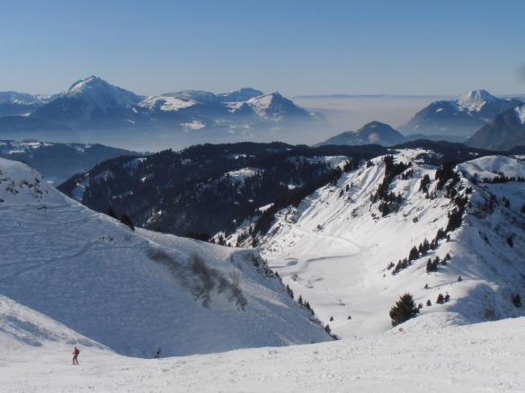 Higher level skiing above the treeline