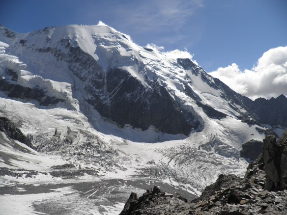 View of the Bionnassay Glacier from the Tete Rousse refuge.