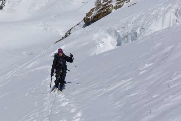 Lots of fresh snow slowed us up, and also made it more difficult to spot and cross the crevasses.