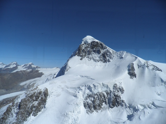 Looking back towards Breithorn as we head down.