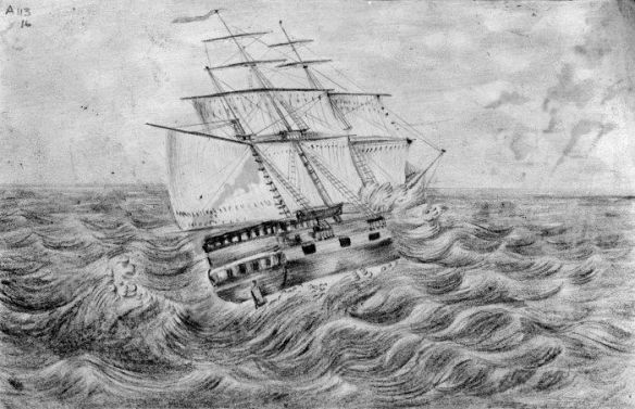 The Lady Nugent on the high seas. Pencil drawing by George Richard Hilliard, 1840 (4).
